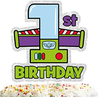 Happy 1st Birthday Cake Topper for Birthday Party Cheers to One Year Old Astronauts Toy Themed Party Supplies Decorations ...