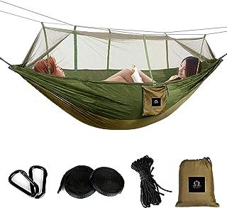 Berukon ハンモック 蚊帳付き2人用 持ち運び 耐荷重350KG 210Tナイロン素材 アウトドア キャンプ 公園 ハイキング 釣り ピクニック 収納バッグ付き