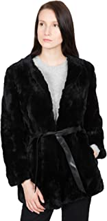 OBURLA Women`s Real Rex Rabbit Fur Coat   Soft, Luxurious and Warm Winter Jacket with Leather Look Belt - Black - Small