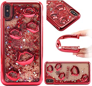 iPhone Xs MAX CASE,iPhone Xs max Luxury case Glitter 3D Bling Liquid Clear WE3DCELL Love Shockproof Silicone Sexy Lips KISS ME (RED)