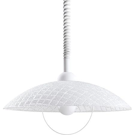 Eglo Suspension Alvez - 1 Ampoule - avec Câble en Spirale - Réglable en Hauteur - Lampe de Cuisine Classique en Plastique et Verre Blanc - Lampe de Table à Manger avec Douille E27