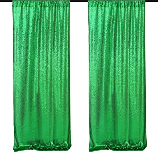 B-COOL St.Patrick's Day Curtain Drape 2 Panels 2ft x 8ft Sequin Backdrop Fabric Green Holiday Stage Party Backdrop Curtains