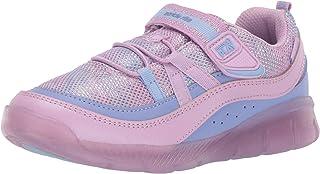 Stride Rite Girls' Made2Play Lighted Burst Sneaker, PURPLE MULTI, 7 M US Toddler