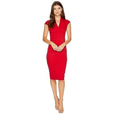 Nicole Miller Hadley Ponte Cap Sleeve V-Neck Dress (Lipstick Red) Women