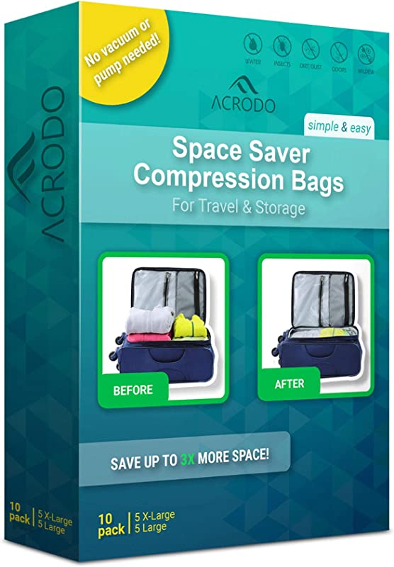 Acrodo Space Saver Travel Bags For Clothes 10 Pack For Compression Packing Organizer Storage No Vacuum Rolling Bag For Clothing