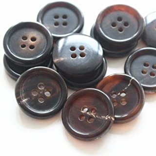 YaHoGa 22 Pieces Real Horn Buttons Set for Blazers Suits Coats 15MM 20MM Natural Brown Buffalo Horn Blazer Buttons Suit Buttons for Men (Brown)