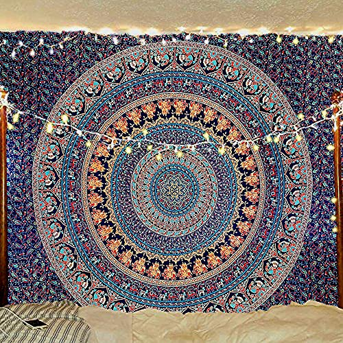 Indian-hippie-gypsy Bohemian-psychedelic Cotton-mandala Wall-hanging-tapestry-multi-color Large-mandala Hippie-tapestry (Twin Size( 84x54 inches))