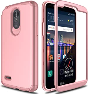 LG Stylo 3 Case, Stylo 3 Phone Case 2017 AMENQ 3 in 1 Heavy Duty Protection Absorb Impact Touch Silicone Rubber Smooth PC Cover [Rose Gold] for LG Stylo 3 LG L84VL-Matte Without Screen Protector