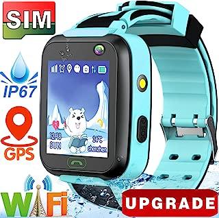 GBD Kids Smart Watches Boys Girls,[SIM Card Edition] Waterproof Smartwatch Phone with Real GPS Tracker WiFi Locator Pedometer Fitness Tracker Amarm Clock Camera Game Wrist Digital Phone Watch (Blue)
