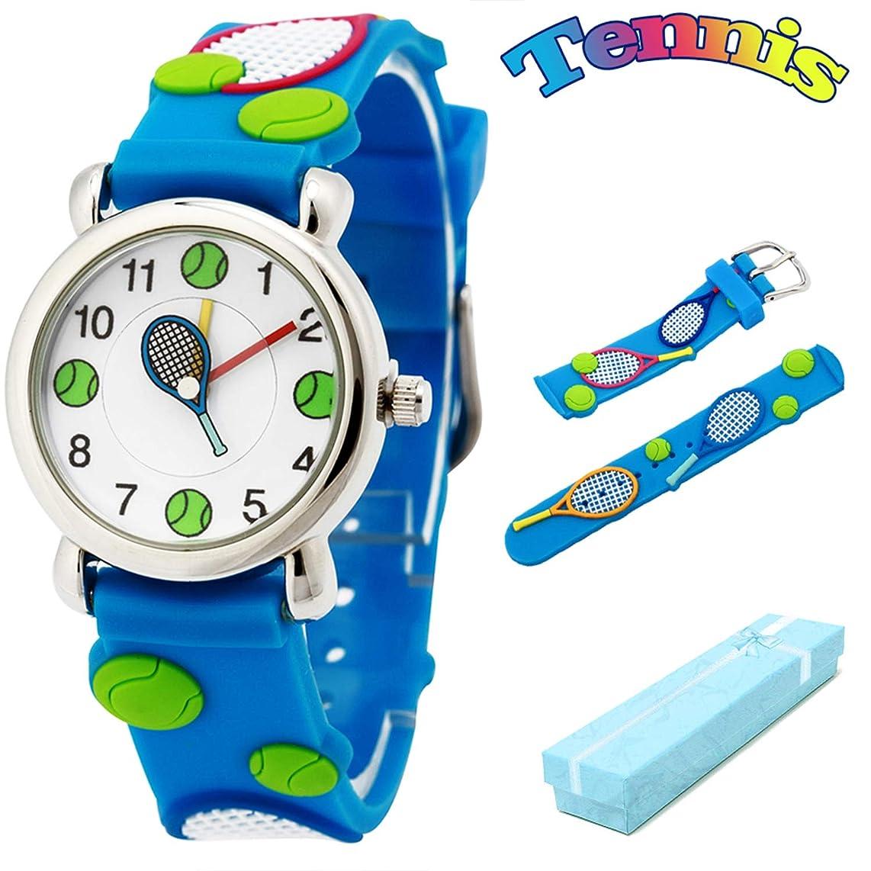 経度保持する演じるKid 's Watch vinmori、with 3d子供用キュートなパターンシリコンバンド防水クォーツ腕時計 ブルー