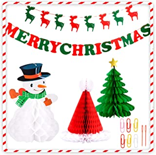 BTSD-home Christmas Decorations Paper Christmas tree Christmas hat snowman Merry Christmas Bunting Banner Flag Christmas P...