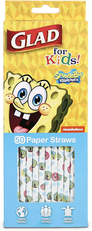 Glad for Kids Spongebob Squarepants Paper Straws -50 Paper Straws with Fun and Cute Spongebob Design | Nickelodeon Spongebob Tropical Paper Straws for Kids