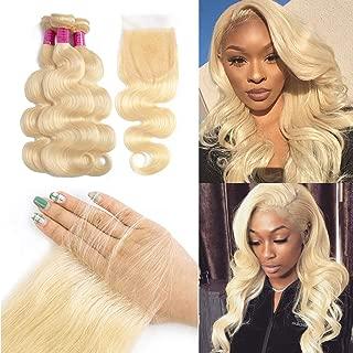 613 Bundles with Closure Brazilian Blonde Body Wave 3 Bundles with Closure 613 Body Wave Bundles with Closure Human Hair Blonde Bundles with Closure