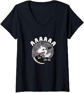 Womens AAAAAA Screaming Opossum Stressed Possum Funny Dank Meme V-Neck T-Shirt