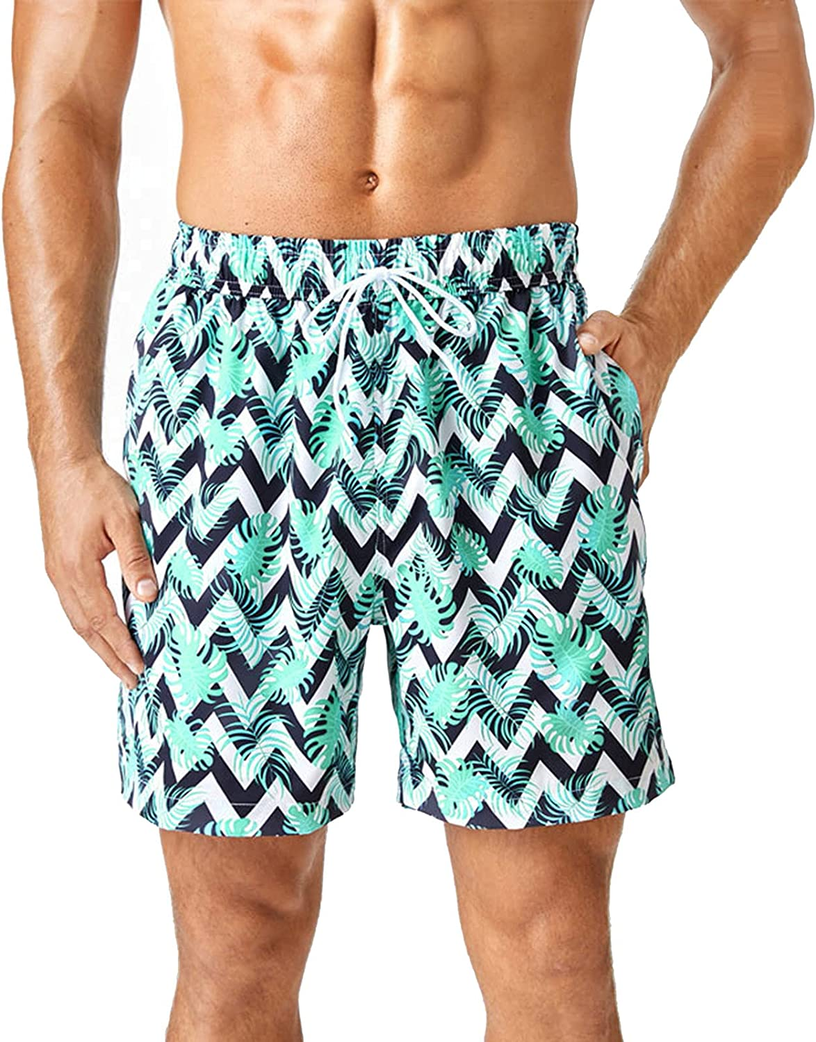 HTHJSCO Men's Beach Shorts Summer Printing Slim Fit Quick Dry Swim Shorts Mens Bathing Suits Surfing Swimming Pants