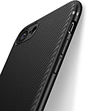 iPhone 8 Case, iPhone 7 Case, Inno Carbon Fiber 0.5mm Super-Slim Cover Anti-Scratch Texture Fashion Flexible Drop Protection Case for Apple iPhone 8 / iPhone 7 for Men Boys Girls (Black, iPhone 7/8)