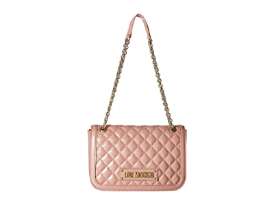 LOVE Moschino Shinny Quilted Shoulder Bag (Pink) Cross Body Handbags