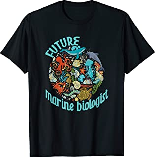 Future Marine Biologist Ocean Life Drawing Whale Octopus T-Shirt