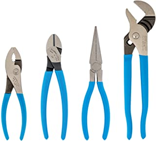 CHANNELLOCK HD-1 Ultimate 4-Piece Pliers Set: Includes Tongue & Groove, Diagonal Cutting, Long Nose and Slip Joint Pliers ...