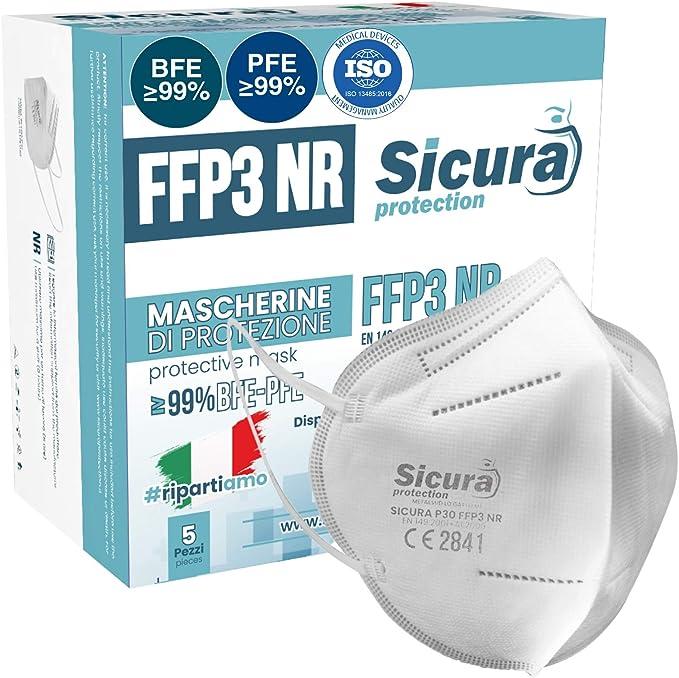 5 Mascherine FFP3 Certificate CE italia Made in Italy BFE ≥99%   PFE ≥99% Mascherina ffp3 SANIFICATA e sigillata singolarmente. Certificata ISO Medical Produzione 100% italiane