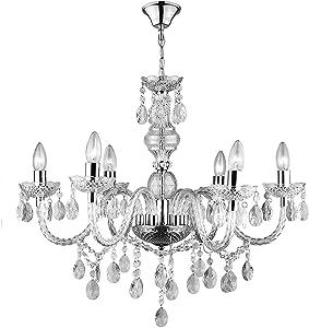 Lámpara de cristal con 6focos