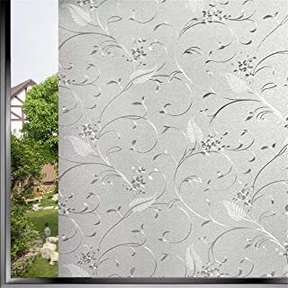Bloss Privacy Window Film Stained Glass Window Non-Adhesive Static Cling Glass Film for Door Home Office Hotel Bathroom Li...