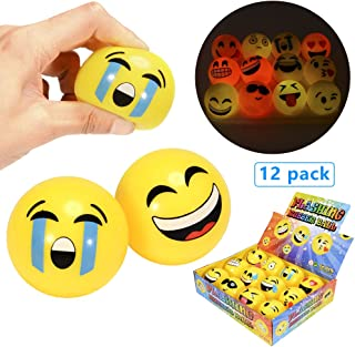 Lumiparty LED Flashing Emoji Face Squeeze Bouncy Balls Relieve Stress and Anxiety Emotional Relax Novelty Rubber Toy, Party Favors for Fun Office Holiday Gift, Set of 12