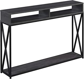 Convenience Concepts Tucson Deluxe 2-Tier Console Table, Charcoal Gray/Black