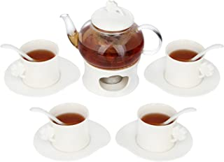 Kendal 20 oz Tea Maker Teapot Tea Cup and Saucer Set with Porcelain Warmer Filter Spoon WSYC