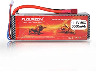 FLOUREON 3S 11.1V 5000mAh 55C Lipo Battery Pack with Deans T Plug RC Car, RC Truck, RC Boat, RC Airplane, RC Helicopter (1pack)