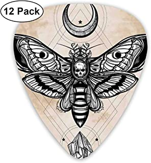 Dead Head Hawk Moth with Luna and Stone Classic Guitar Picks (12 Pack) for Electric Guitar, Acoustic Guitar, Mandolin, and Bass