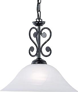 EGLO Lámpara colgante Murcia, 1 foco, vintage, rústica, lámpara de techo de acero en negro, cristal de alabastro en blanco, lámpara de comedor, lámpara colgante con casquillo E27