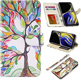 UrSpeedtekLive Samsung Galaxy Note 9 Case, Galaxy Note 9 Premium PU Leather Wristlet Flip Wallet Case Cover with Card Slots & Stand-Love Tree