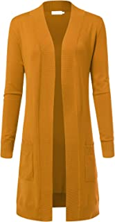 ARC Studio Women's Solid Soft Stretch Longline Long Sleeve Open Front Cardigan (S-XL)