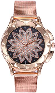 Watches for Women's vansvar Casual Quartz Stainless Steel Band Women Lucky Flower Rhinestone Watch