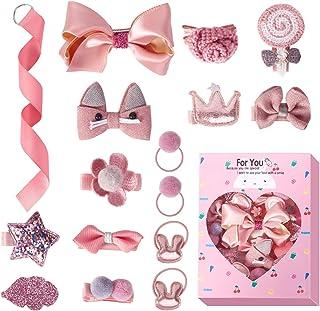 REHTRAD 18 in 1 Set Baby Girl Hair clip,Elastic kids accessories girls,hair clip for baby girls (Pink)