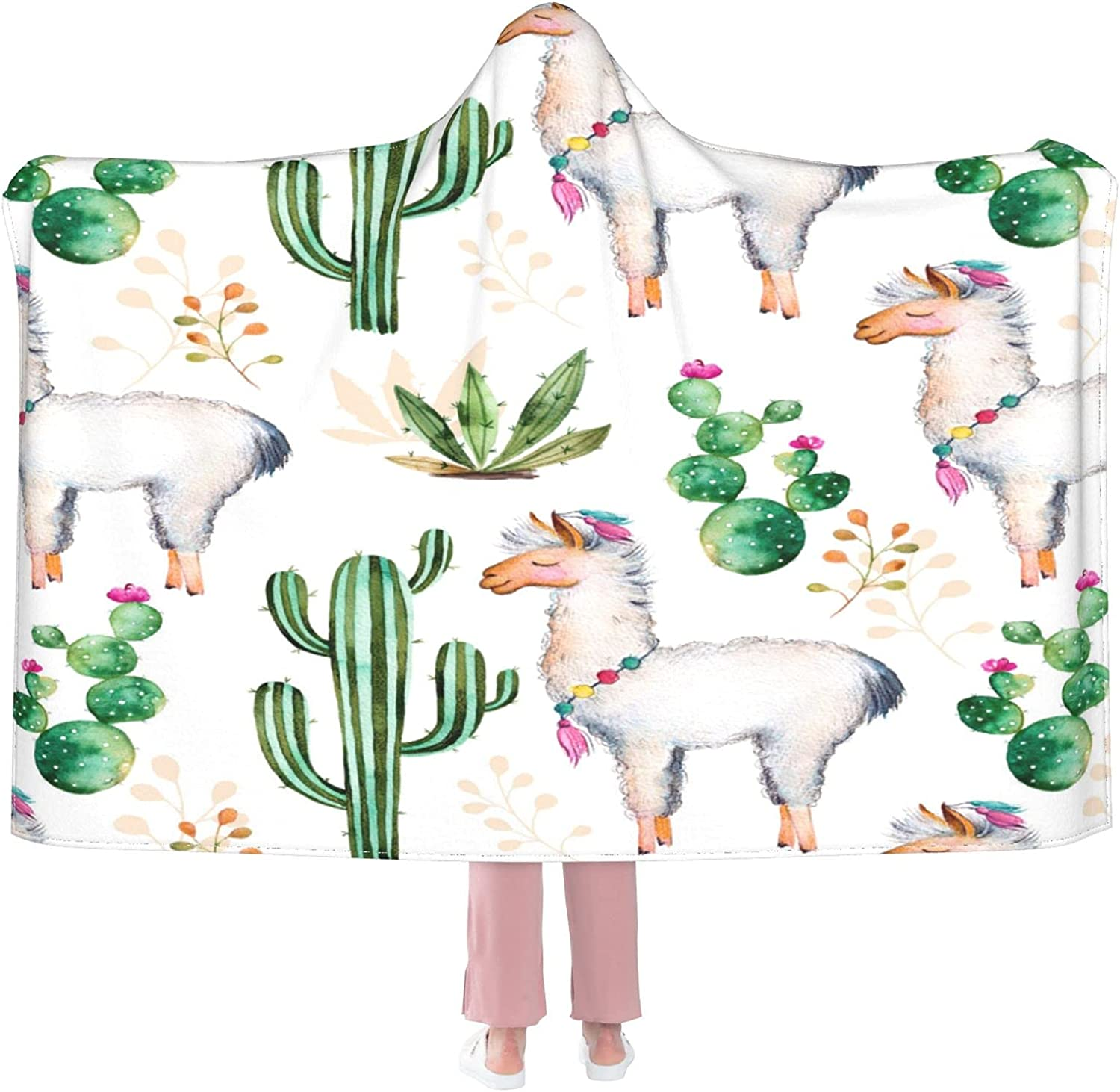 Manufacturer OFFicial shop Llama and Cartoon Cacuts Wearable Credence Flannel Blanket Hoode