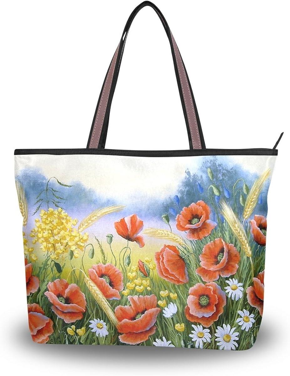 JSTEL Women Large Tote Top Handle Shoulder Bags Acrylic Color Poppy Patern Ladies Handbag