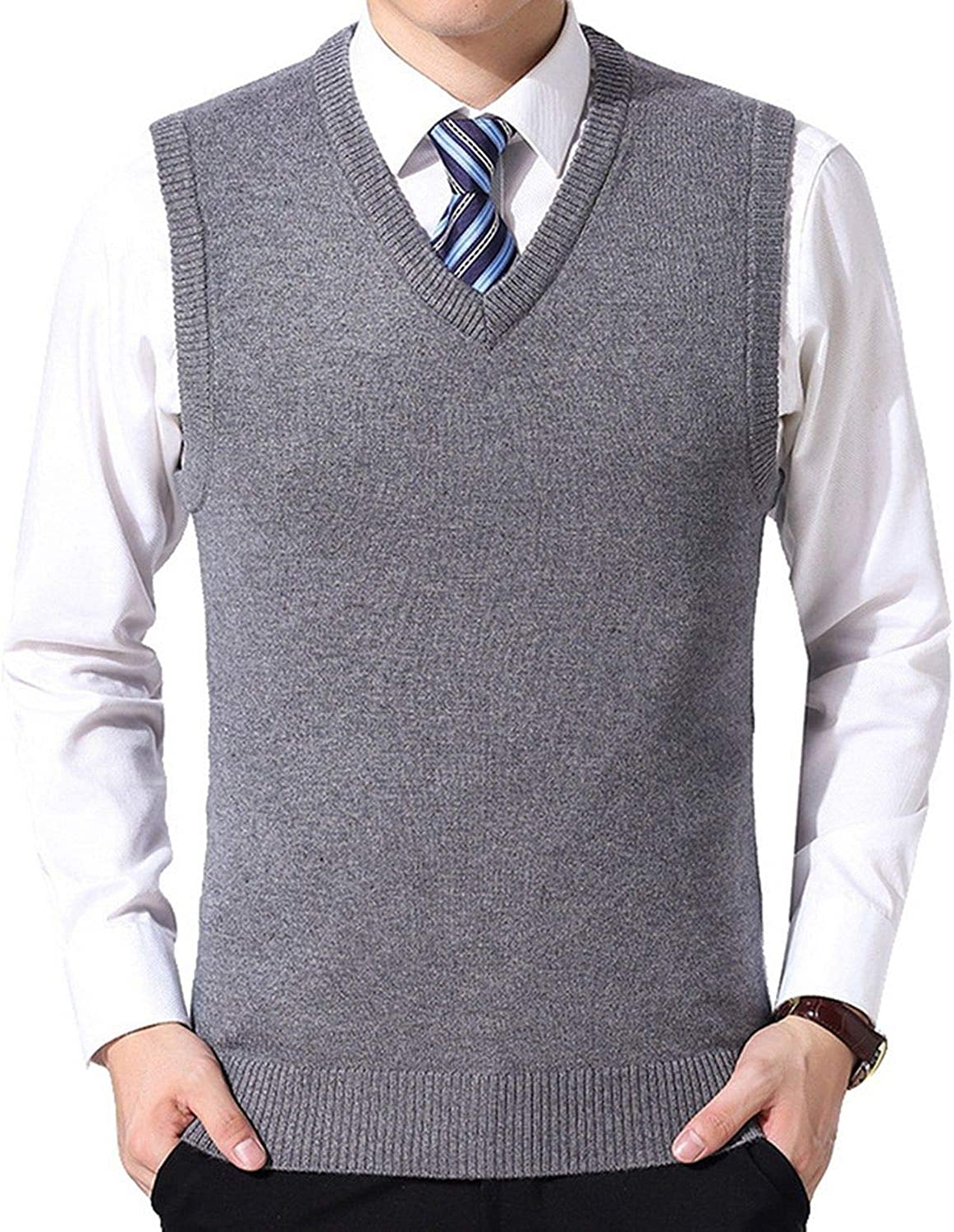Nice Mens Solid Sweater Vest Men Wool Pullover V Neck Sleeveless Knitwear Vest Winter Casual Clothes Tops