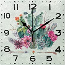 Naanle Chic Pattern Print Fashion Wall Clock, Battery Operated Quartz Analog Quiet Desk Clock for Home,Office,School 8in Multi g19674468p240c275s440