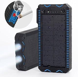 15000mAh Solar Charger with Cigarette Lighter, Elzle Solar Power Bank Dual USB Backup Battery Pack Charger, Outdoor Solar External Battery Charger with 2 Led Flashlight for Smart Phone, More
