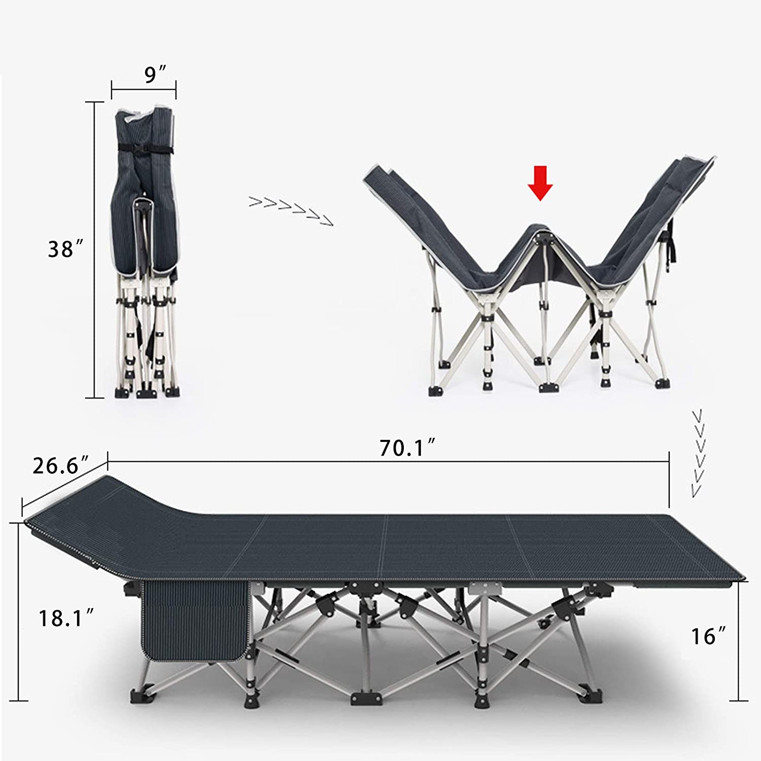 JYXYT Folding Camping Cot Barbecue Backpack Beach Indoor//Outdoor Use Office Hiking Used for Camping Portable Camping Cots for Adults