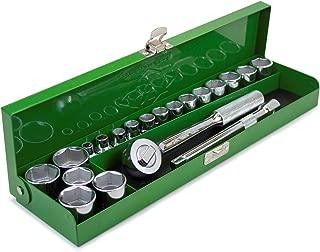 SK Hand Tool 94521 Full Range 3/8 Metal Box – 20 Piece Metric Assortments, High Strength, Corrosion Resistant Classic Fractional Tools. Individual Socket Set