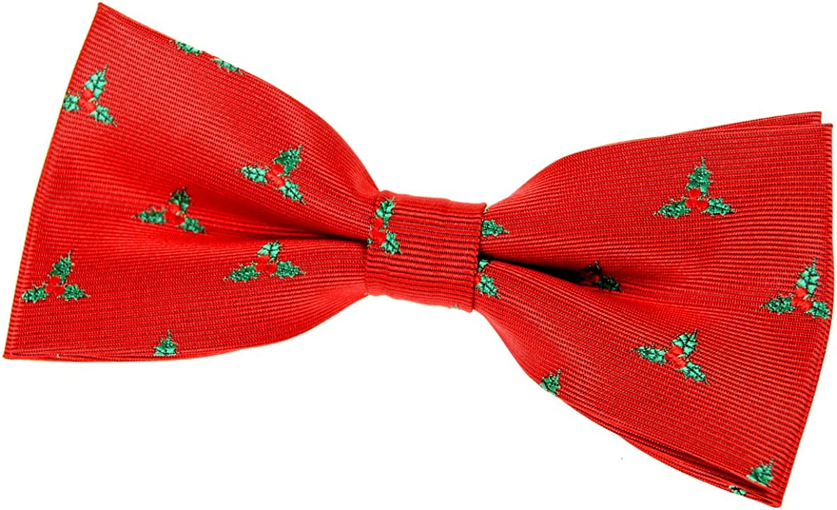 Retreez Christmas Holly Leaves Woven Pre-tied Bow Tie (4.5