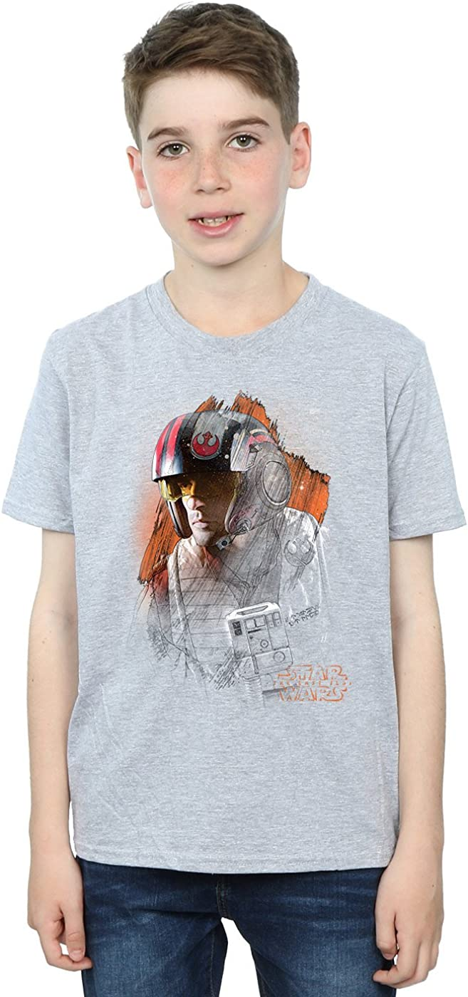 STAR WARS Boys The Last Jedi Poe Dameron Brushed T-Shirt 7-8 Years Sport Grey