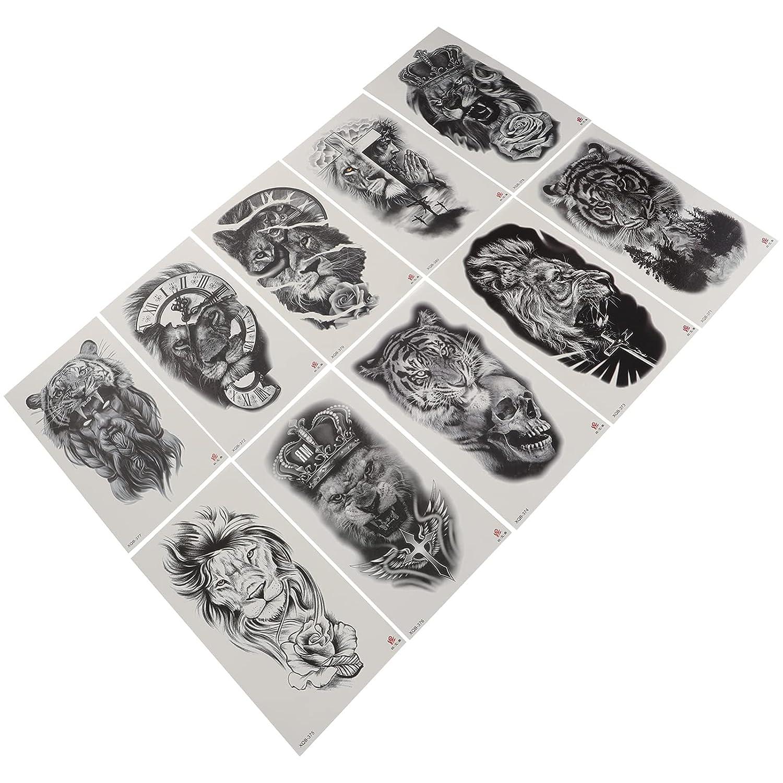 Beaupretty 10Pcs Animal Temporary Be super welcome Tattoos Tiger Wolf Tatto Washington Mall Black
