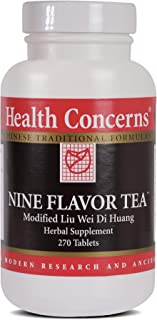 Health Concerns - Nine Flavor Tea - Modified Liu Wei Di Huang Wan Chinese Herbal Supplement - Oral and Throat Health Support - with Rehmannia (Raw) Root - 270 Tablets per Bottle