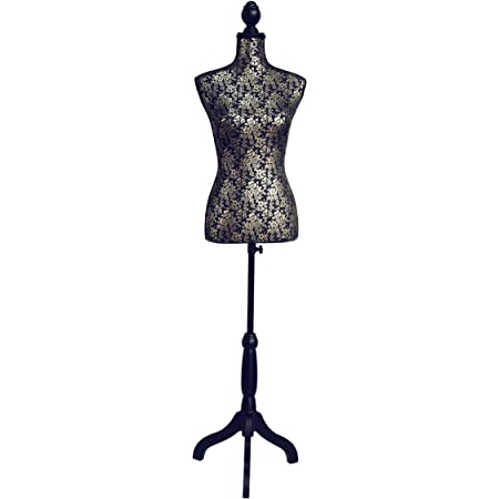CLARIE - Buste, Mannequin Glamour en Coton sur Trois Pieds, doré et Noir, 83x 37,5x 24cm