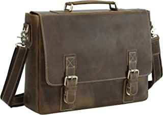 Texbo Men's 16 Inch Full Grain Cowhide Leather Laptop Briefcase Messenger Bag Tote