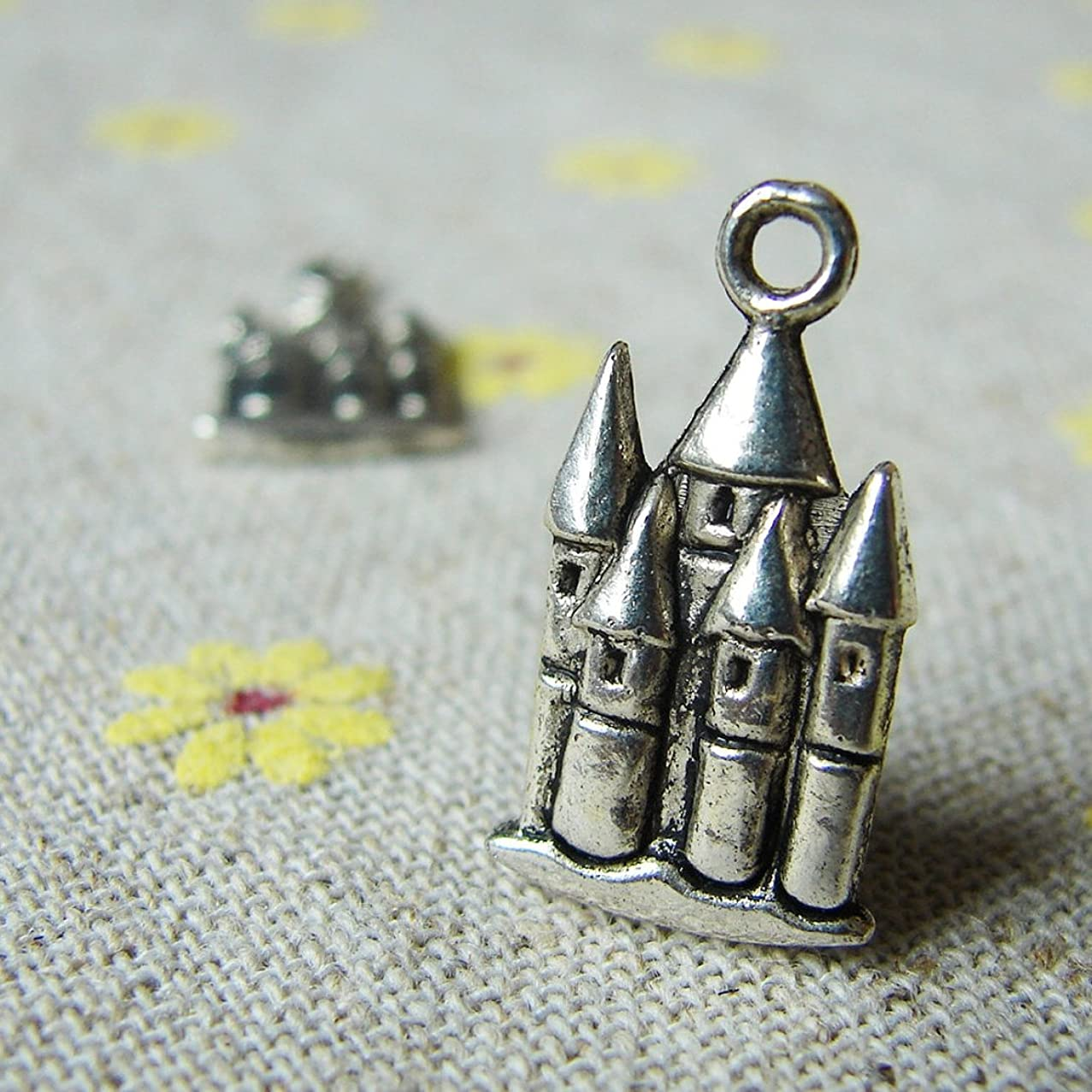 Antique Silver Castle Charms 20x13mm - 15 Pcs (NS674)